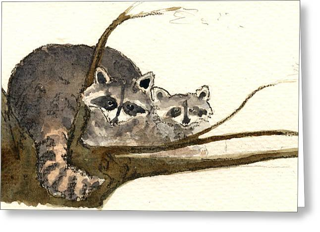 Raccoon Greeting Card by Juan  Bosco