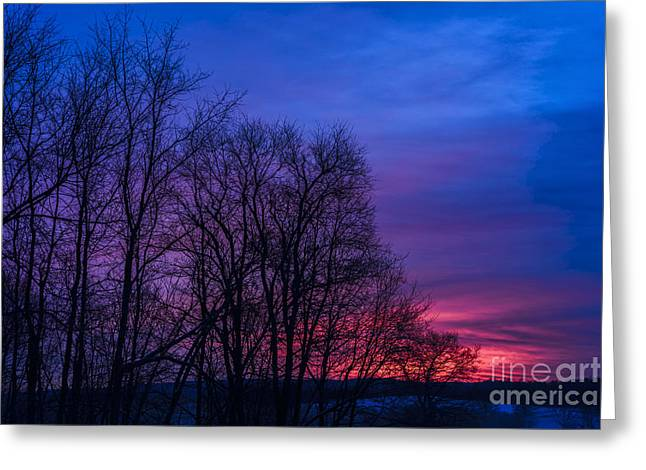 Winter Storm Greeting Cards - Red Sky at Morning Greeting Card by Thomas R Fletcher