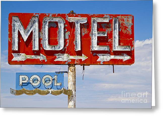 Route 66 Highway Signs Motels Gas Stations And Art Deco Architec Greeting Card by ELITE IMAGE photography By Chad McDermott