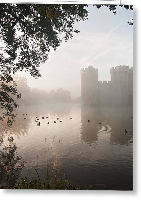 Slit Greeting Cards - Stunning moat and castle in Autumn Fall sunrise with mist over m Greeting Card by Matthew Gibson