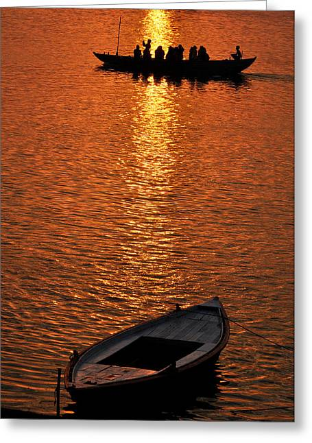 Beauty Mark Greeting Cards - Sunrise On Ganges. Greeting Card by Anil Sharma