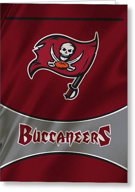 Buccaneer Greeting Cards - Tampa Bay Buccaneers Uniform Greeting Card by Joe Hamilton