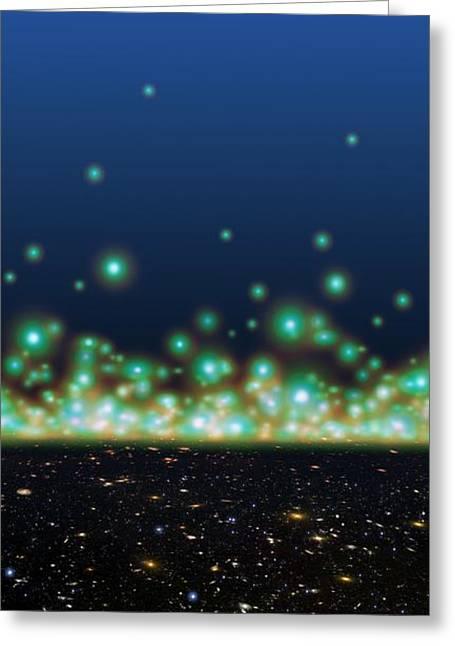Inflation Greeting Cards - Universe Timeline, Artwork Greeting Card by Detlev van Ravenswaay