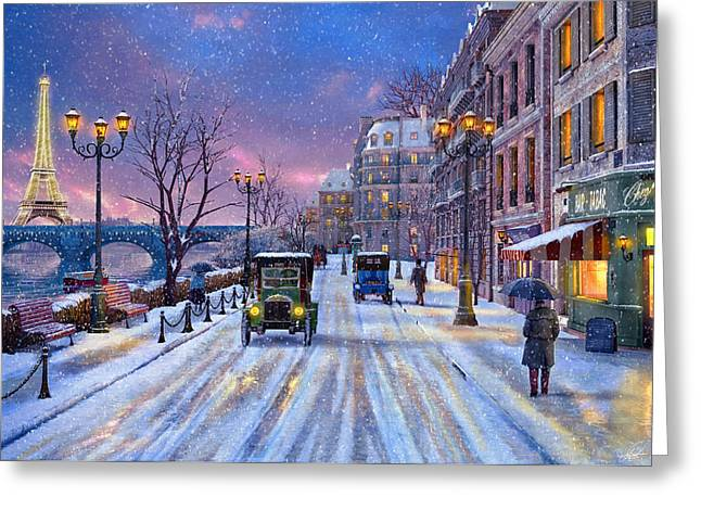 Horizontal Digital Art Greeting Cards - Winter in Paris Greeting Card by Dominic Davison