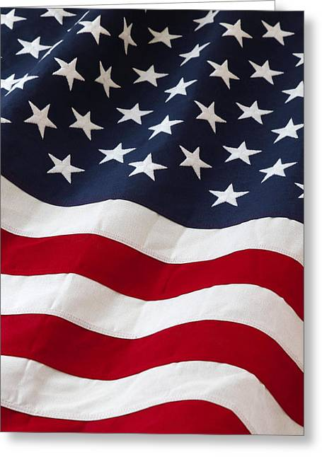 Flag Colors Greeting Cards - Usa Greeting Card by Les Cunliffe