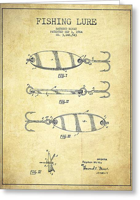 Properties Greeting Cards - Vintage Fishing Lure Patent Drawing from 1964 Greeting Card by Aged Pixel