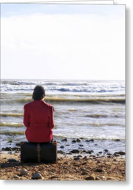 Woman Waiting Greeting Cards - Waiting Greeting Card by Joana Kruse