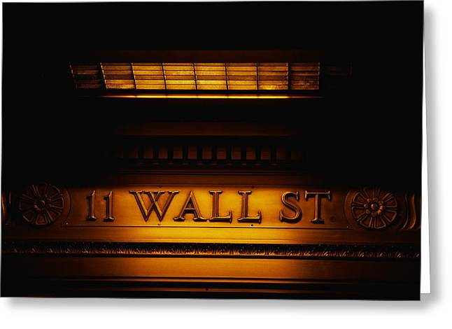 Invest Greeting Cards - 11 Wall St. Building Sign Greeting Card by Panoramic Images
