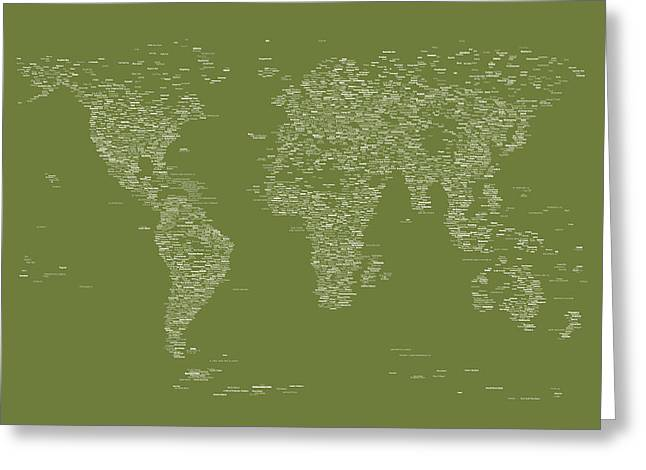 Maps Globes Greeting Cards - World Map of Cities Greeting Card by Michael Tompsett