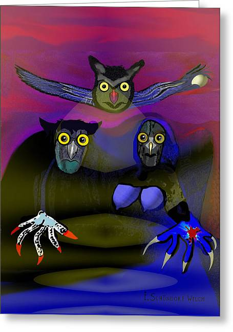 Strange Owl Greeting Cards - 110 - The Old Owl Family Greeting Card by Irmgard Schoendorf Welch