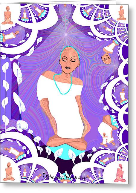 Fractal Greeting Cards Greeting Cards - 1103 - Relaxed Lady Fractal Greeting Card by Irmgard Schoendorf Welch