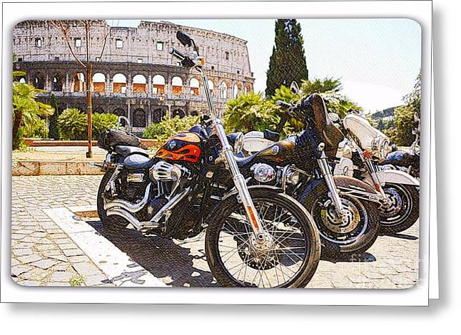 Chrome Mixed Media Greeting Cards - 110th Anniversary Harley Davidson under Colosseum Greeting Card by Stefano Senise