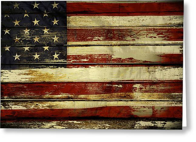 Plank Greeting Cards - American flag Greeting Card by Les Cunliffe