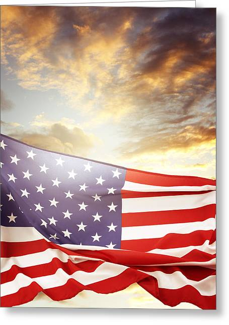 Clouds And Sun Greeting Cards - American flag Greeting Card by Les Cunliffe