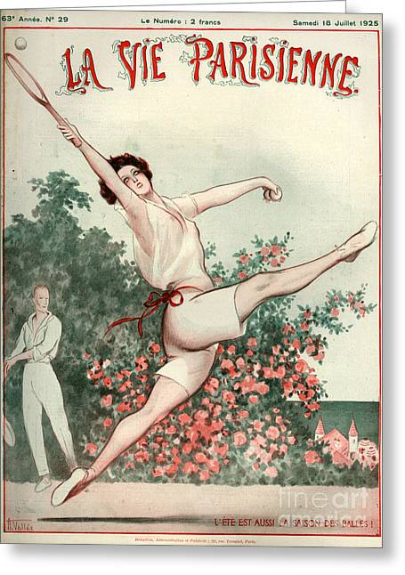 Tennis Drawings Greeting Cards - 1920s France La Vie Parisienne Magazine Greeting Card by The Advertising Archives