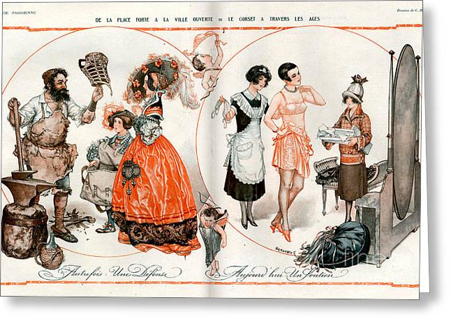 Corset Drawings Greeting Cards - 1920s France La Vie Parisienne Magazine Greeting Card by The Advertising Archives