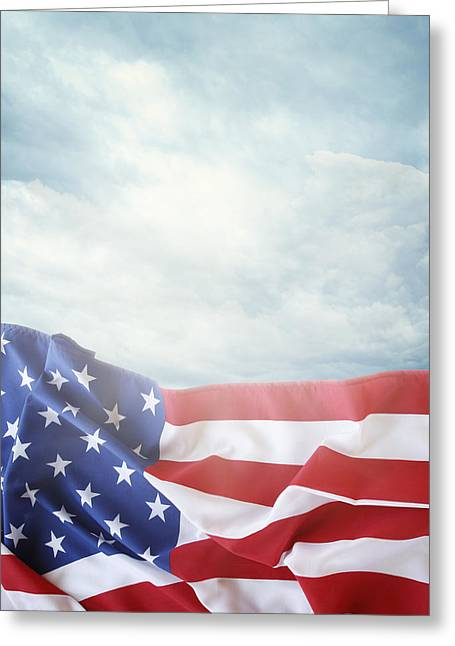 Independence Greeting Cards - American flag Greeting Card by Les Cunliffe