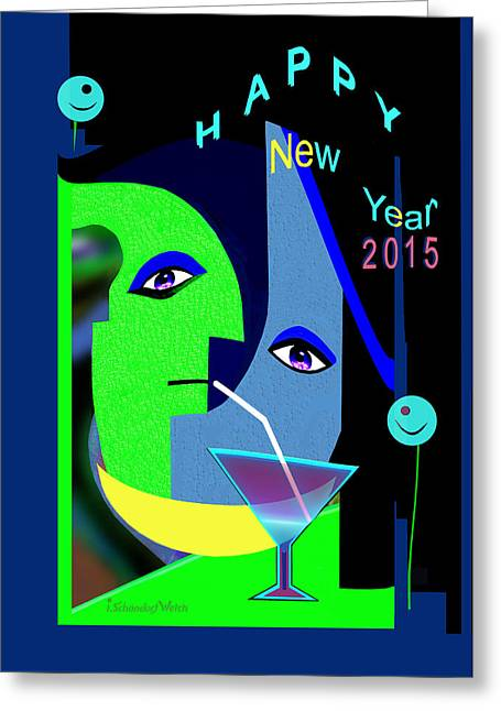 Blue And Green Digital Art Greeting Cards - 1193 - New Year 2015 Greeting Card by Irmgard Schoendorf Welch