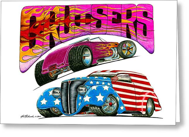 1932-1937 Greeting Cards - 1932 Ford 1937 Chevrolet Greeting Card by Jon Richards