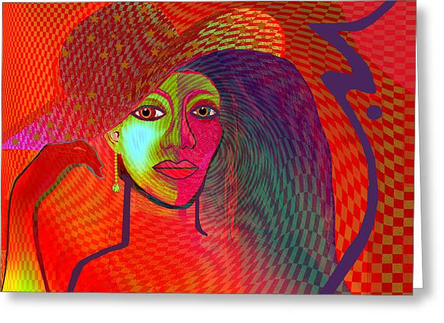 Redlight Greeting Cards - 1197 - Lady with hat and golden earring Greeting Card by Irmgard Schoendorf Welch