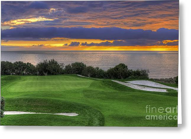 Wet Greeting Cards - 11th Green - Trump National Golf Course Greeting Card by Eddie Yerkish