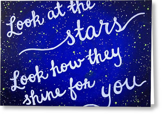 Coldplay Greeting Cards - 11x14 Look at the stars Greeting Card by Michelle Eshleman