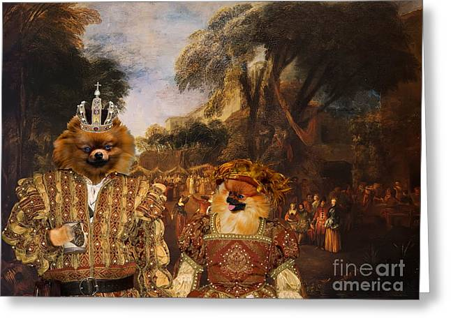 Pomeranian Greeting Cards -  Pomeranian Art Canvas Print  Greeting Card by Sandra Sij