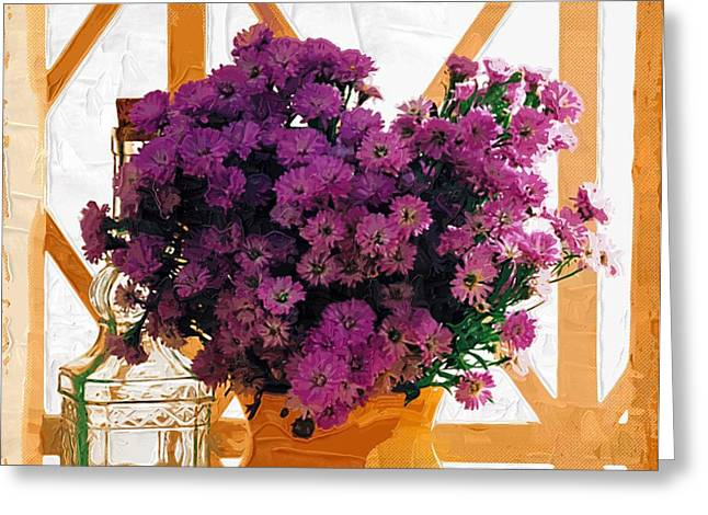 Close Up Paintings Greeting Cards - Abstract Paintings Flowers Greeting Card by Victor Gladkiy