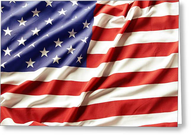 Ruffled Greeting Cards - American flag Greeting Card by Les Cunliffe