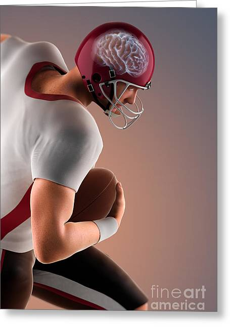Damaging Thoughts Greeting Cards - American Football Player Greeting Card by Science Picture Co