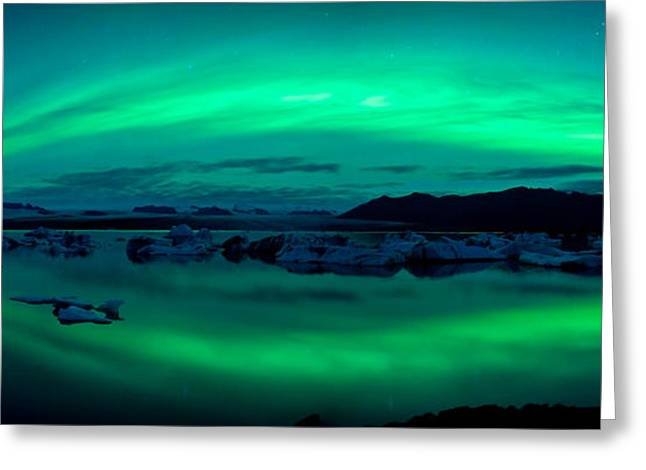 Climate Change Greeting Cards - Aurora Borealis Or Northern Lights Greeting Card by Panoramic Images