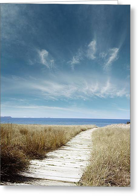 Beach Photographs Greeting Cards - Beach view Greeting Card by Les Cunliffe