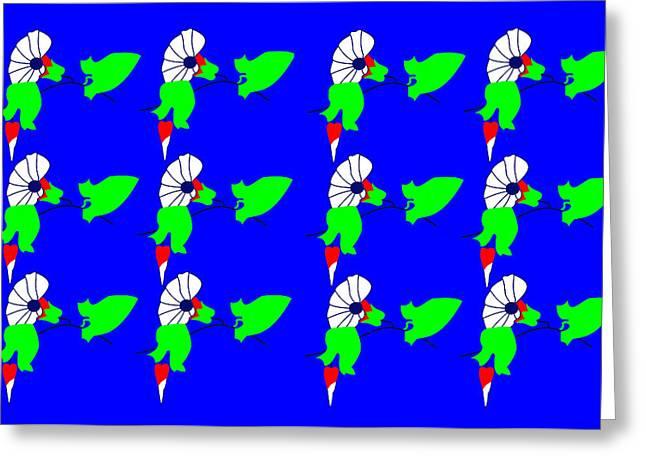 12 Bindweed Flowers On Blue Greeting Card by Asbjorn Lonvig