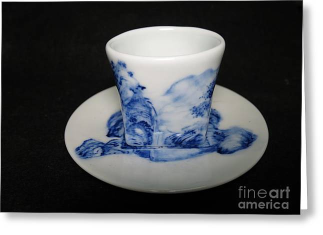 Mountains Ceramics Greeting Cards - Blue And White Porcelain Greeting Card by Champion Chiang