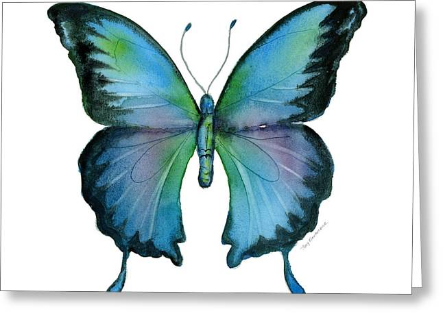 Butterfly Paintings Greeting Cards - 12 Blue Emperor Butterfly Greeting Card by Amy Kirkpatrick