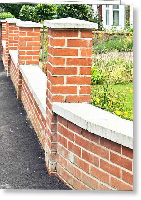 Stonewall Greeting Cards - Brick wall Greeting Card by Tom Gowanlock
