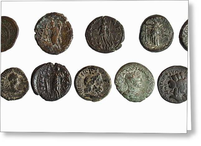 12 Bronze Roman City Coins Greeting Card by Science Photo Library
