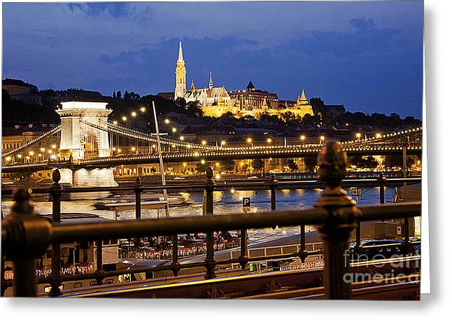 Budapest By Night Greeting Card by Odon Czintos