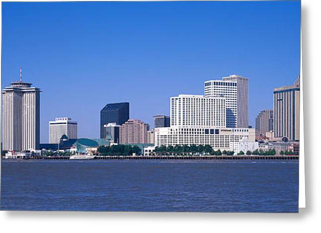 Mississippi River Scene Greeting Cards - Buildings At The Waterfront Greeting Card by Panoramic Images