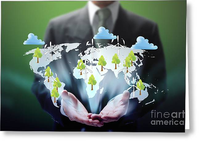 Global Greens Greeting Cards - Business Abstract Greeting Card by Atiketta Sangasaeng