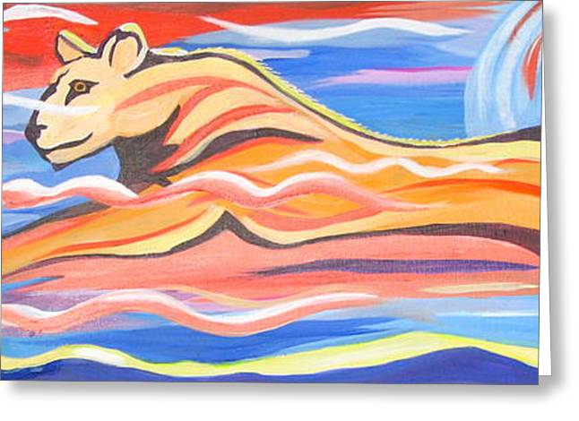Lioness Greeting Cards - 12 by 36 Modern Lioness Running Greeting Card by Phyllis Kaltenbach