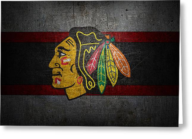 Barn Door Greeting Cards - Chicago Blackhawks Greeting Card by Joe Hamilton