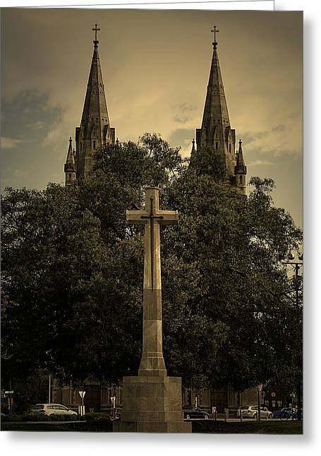 Crosses Pyrography Greeting Cards - Cross and Church Greeting Card by Girish J