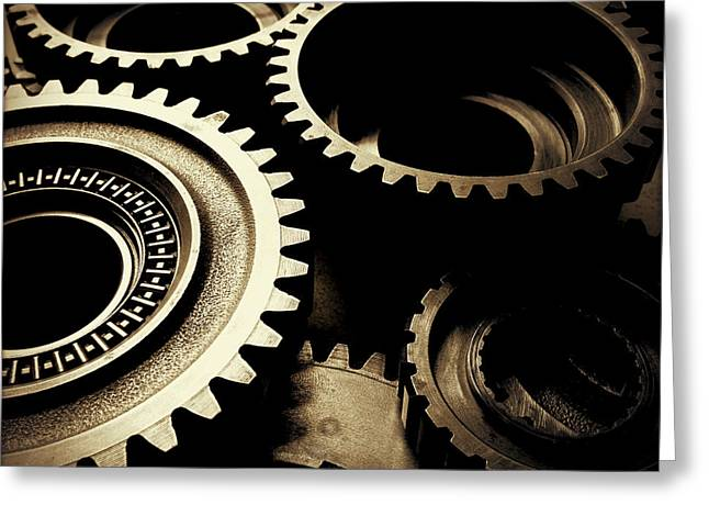 Metaphor Greeting Cards - Cogs Greeting Card by Les Cunliffe