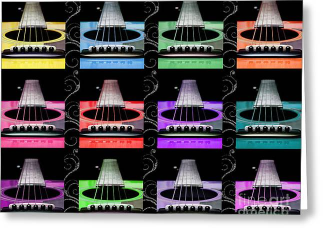 Hole 12 Greeting Cards - 12 Color Guitars Greeting Card by Andee Design