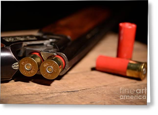 Bird Shot Greeting Cards - 12 Gauge Over and Under Shotgun Greeting Card by Jt PhotoDesign