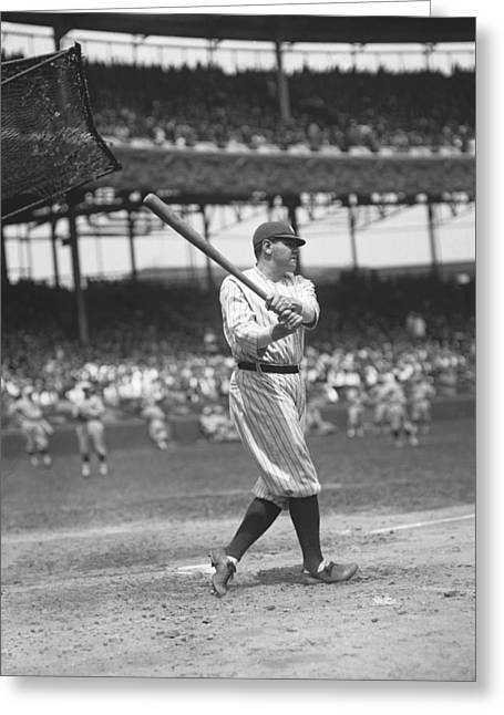 Baseball Game Greeting Cards - George H. Babe Ruth Greeting Card by Retro Images Archive
