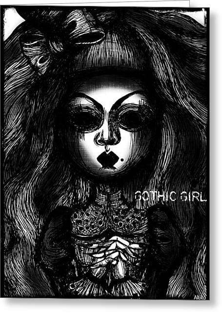 Analog Drawings Greeting Cards - Gothic Girl Greeting Card by Akiko Kobayashi