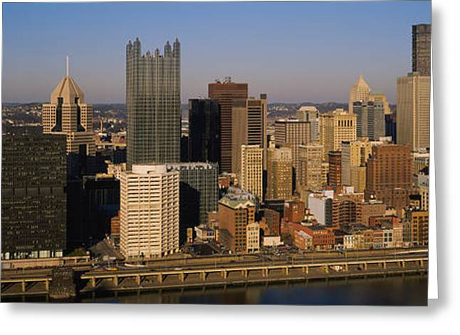 Monongahela River Greeting Cards - High Angle View Of Buildings In A City Greeting Card by Panoramic Images