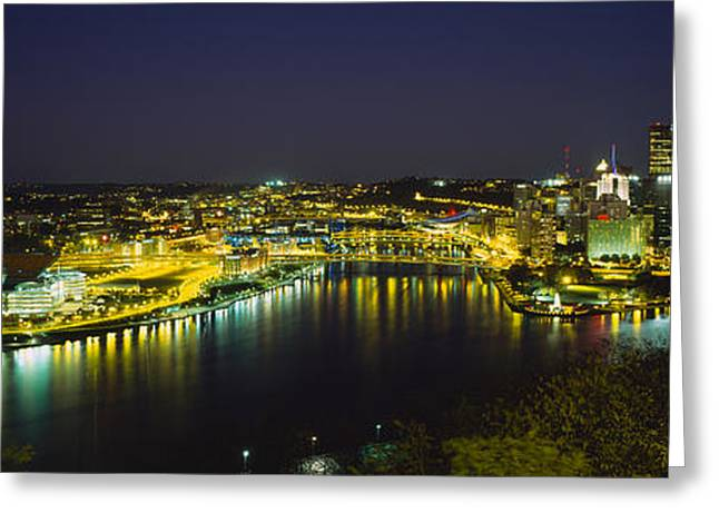 Monongahela River Greeting Cards - High Angle View Of Buildings Lit Greeting Card by Panoramic Images